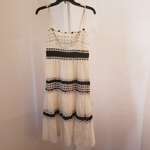 BCBGMaxAzria Dresses & Skirts - BCBG Maxazria black and white eyelet dress sz M
